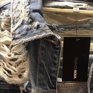 Oversized Distressed Denim FashionNova Jacket